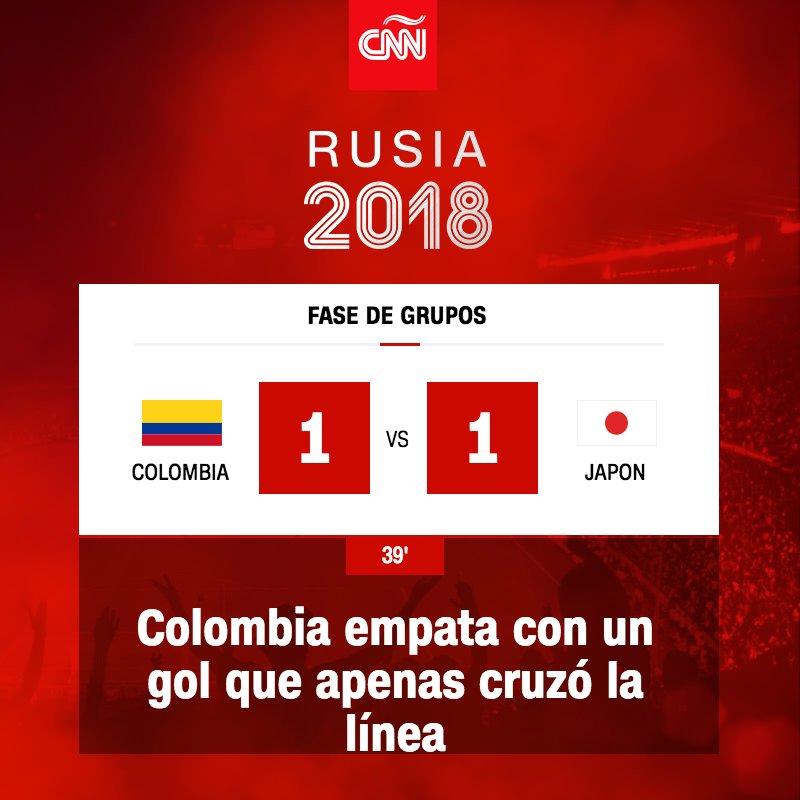 ¡Gooooooool! Juan Quintero de Colombia empata el partido https://t.co/P1e47vUTlG  #Rusia2018 https://t.co/CRwx7MWAW8