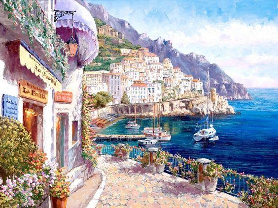 test Twitter Media - RT @rehana_one: Sung Sam Park  'Amalfi Afternoon'  #landscape #painting https://t.co/MxtDZGSZ0Y