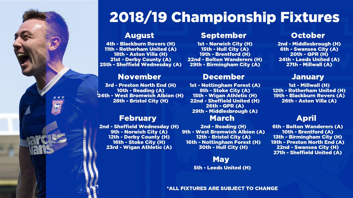 RT @Official_ITFC: Here's our full fixture list for the 2018/19 season 👇  #itfc https://t.co/qO9PlbIxk2