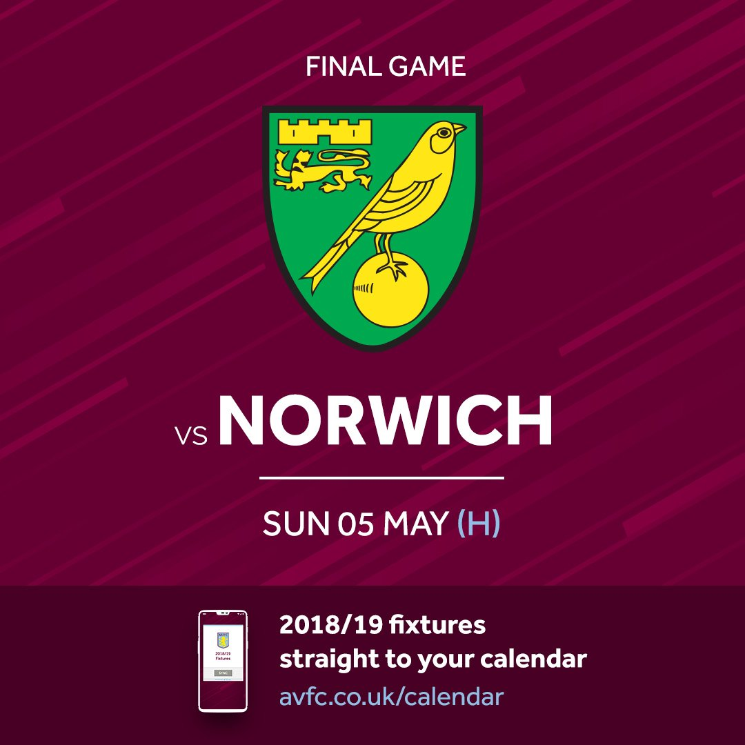 RT @AVFCOfficial: And our final game will see us host @NorwichCityFC 👊  #PartOfThePride #AVFC https://t.co/o4EChnd8HX