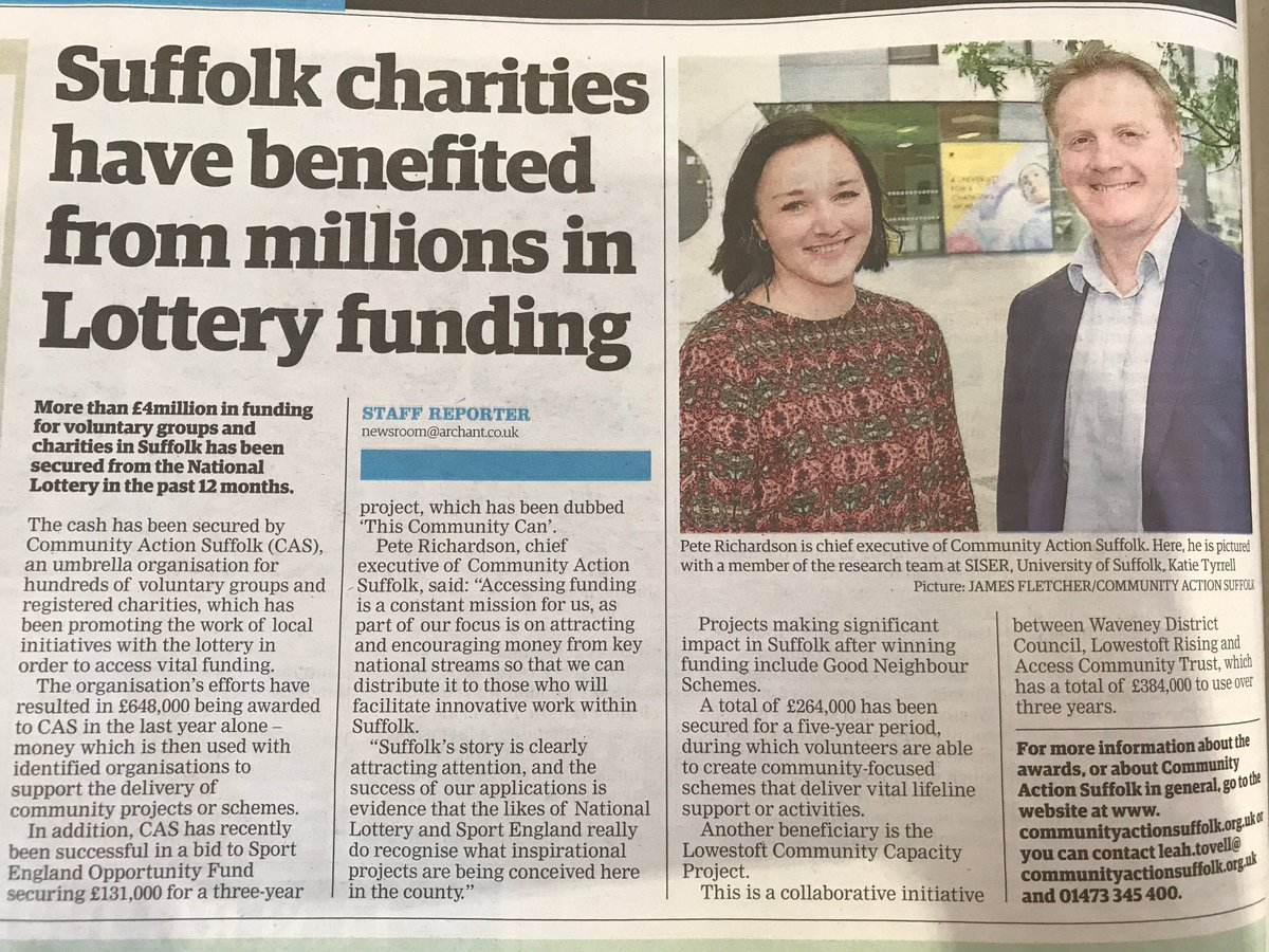 test Twitter Media - Thanks @emilyltownsend and @EADT24 for this great #SuffolkDay2018 coverage of the work of @CASuffolk #ThankYouSuffolk   #PR #charity #media https://t.co/cjIa2gxXrK