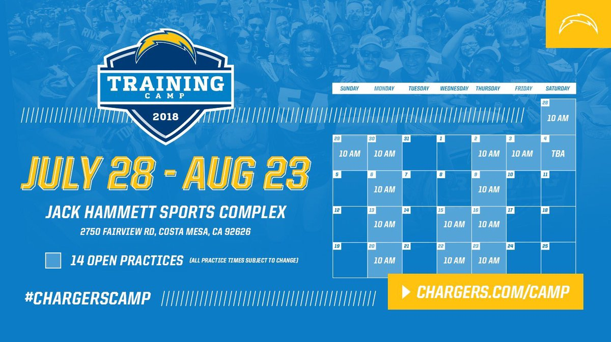 test Twitter Media - LA CHARGERS training camp schedule #LA #LAChargers #SummerCamp #offseason #NFL #BoltGang #Boltup #Bolts #Hollywood #SantaMonica #DTLA #LosAngeles #LongBeach https://t.co/WrwZ5w93ph