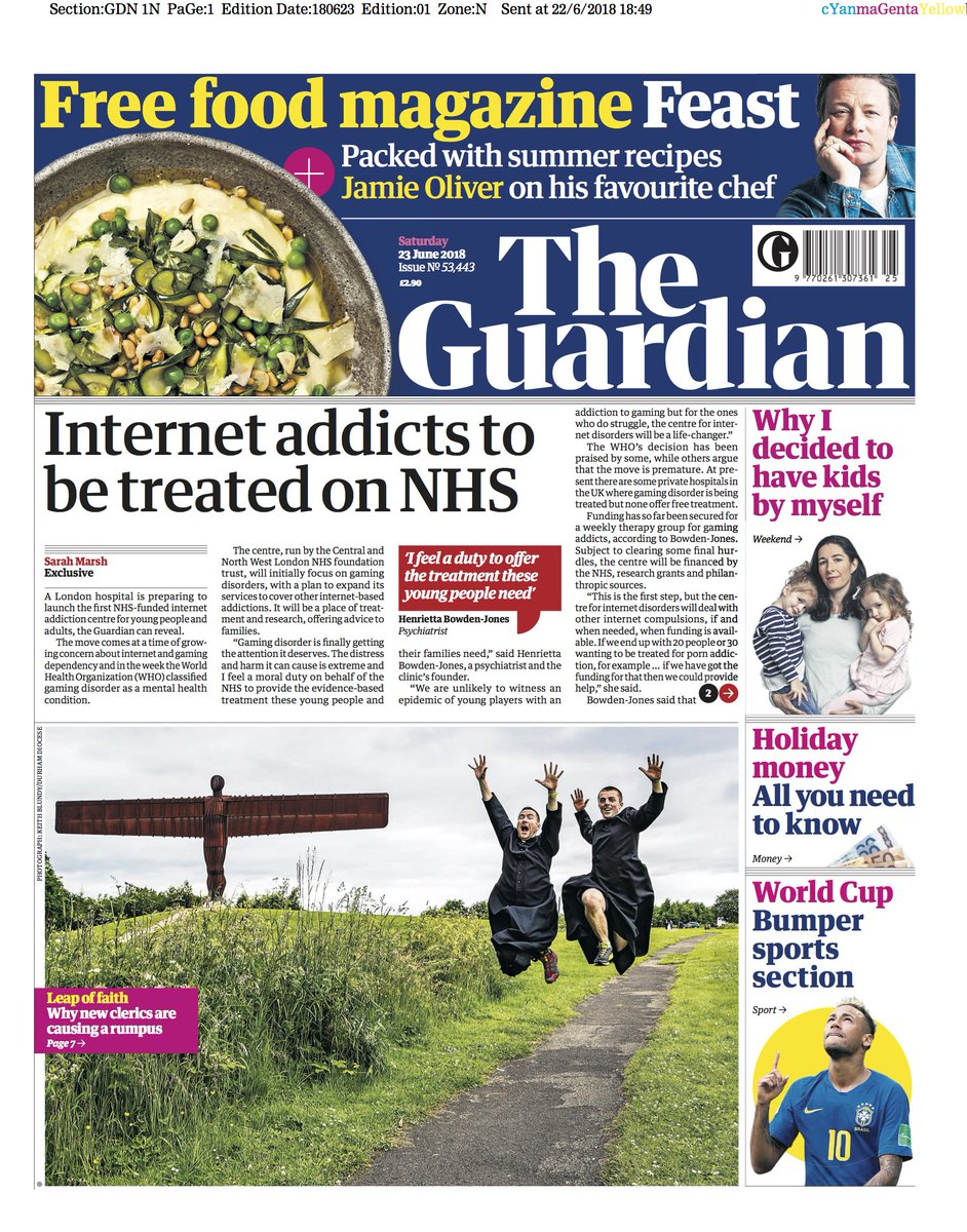 The Guardian front page, Saturday 23 June 2018: Internet addicts to be treated on NHS https://t.co/8B57nEaxys