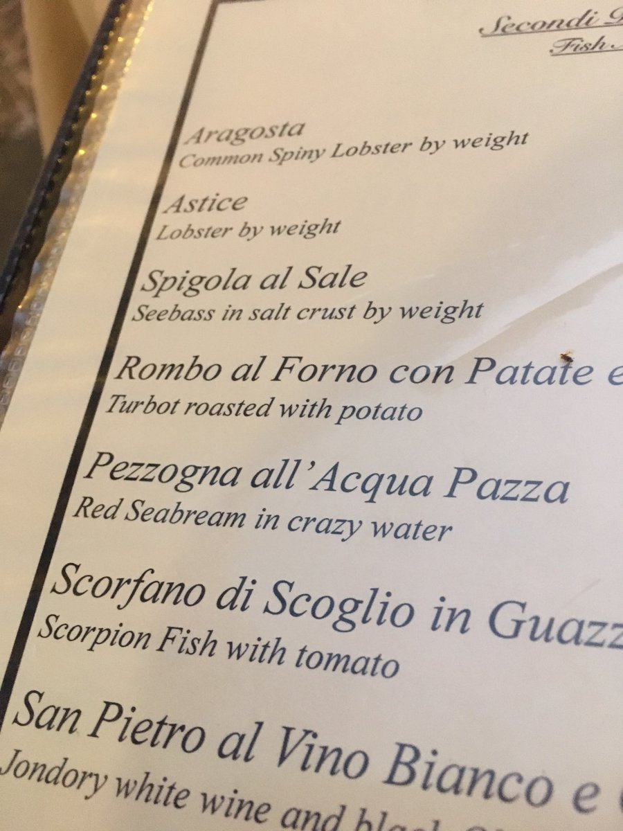 """Menu in Italy. """"Crazy water"""" is just water with a tomato base. Google translate misfire! https://t.co/ryVOoqVSsM"""