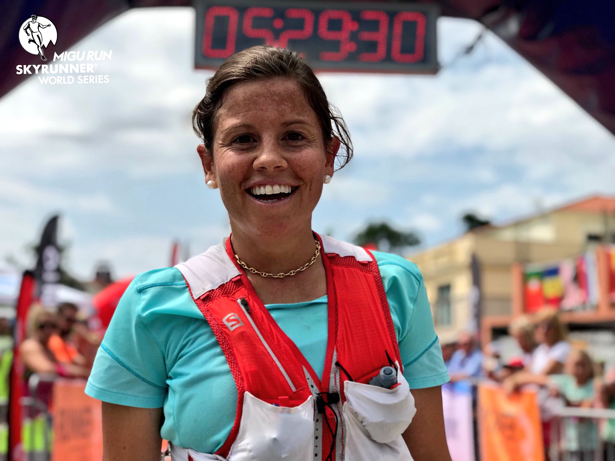 """Oh how much we missed this smile: Stevie Kremer... is BACK! She finishes 3rd in the #OlympusMarathon2018 after 5h28'. """"That was a looong day, but it's not bad for a mom like me, is it?"""" Actually it's awesome! #SWS18 https://t.co/2y5B3hvLjR"""