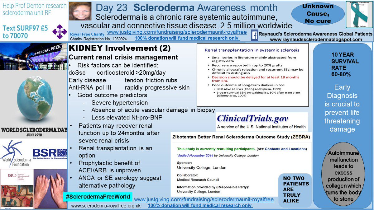 test Twitter Media - Day 23 #SclerodermaAwarenessMonth Kidney /renal impairment  https://t.co/1AZUwf5fWU #scleroderma #RareDisease #autoimmune #Raynauds #SclerodermaFreeWorld #RaynaudsFreeWorld #research #cure #hope #transplantation #dialysis #systemic #diabetes #lifechanging @RoyalFreeChty https://t.co/mtggx3xCJa