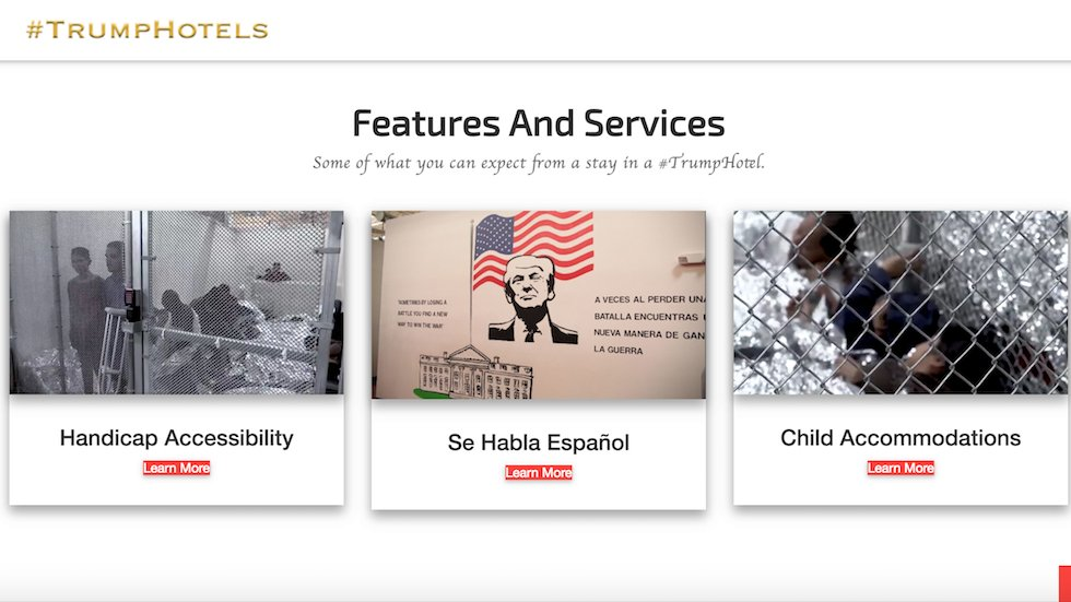 Parody Trump hotel website features immigrant detention centers https://t.co/N9VIEPTLNC https://t.co/7rRZWCACcp