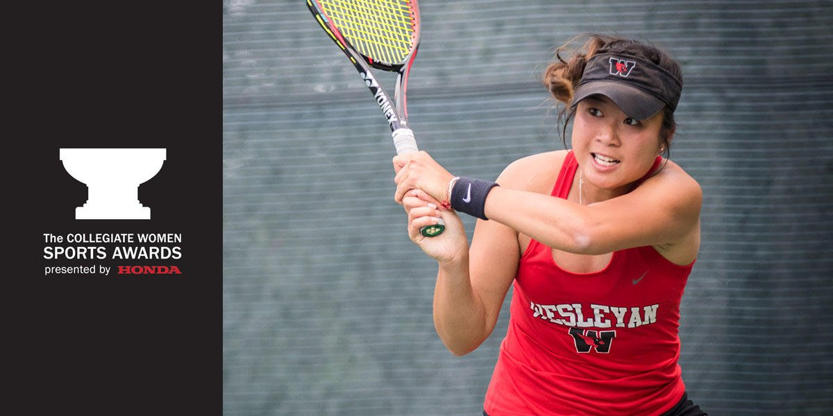 test Twitter Media - .@whodis_eudice '18 of @CardsTennis was named the DIII Honda Athlete of the Year, and will be presented with this honor live on @CBSSportsNet tonight at 9 pm EST. Be sure to tune in! Congratulations Eudice! Read more here: https://t.co/wnM3U7Yxxz #WesleyanTennis #AthleteOfTheYear https://t.co/K5YvnunNrk