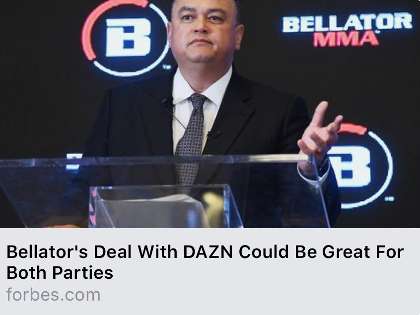 Bellator signed a 9 figure deal yesterday! Which means... DAZN deal could = shoulder programming with @50cent https://t.co/O66NSpHHgq