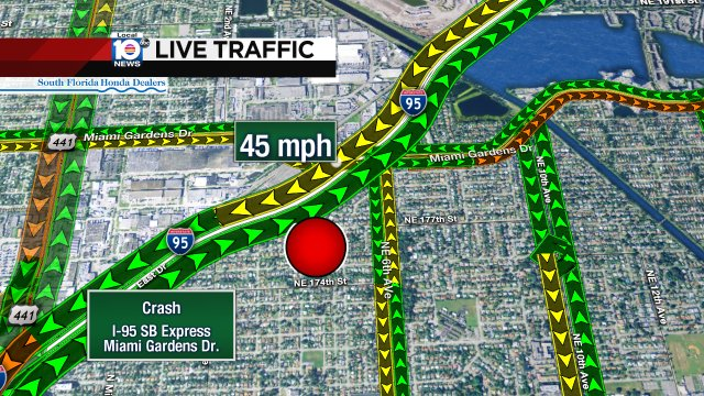 Crash on I-95 SB Express at Miami Gardens Dr. #Traffic https://t.co ...