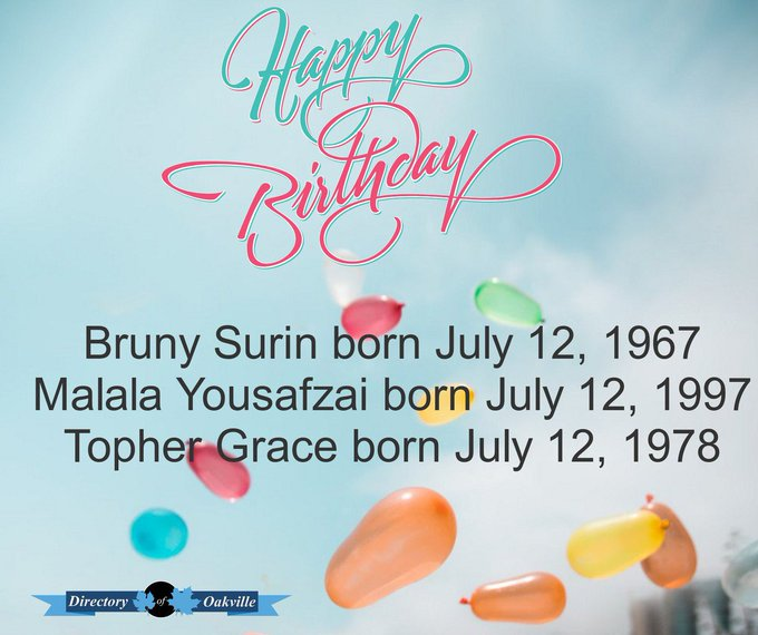 Happy Birthday! Bruny Surin born July 12, 1967 Malala Yousafzai born July 12, 1997 Topher Grace born July 12, 1978