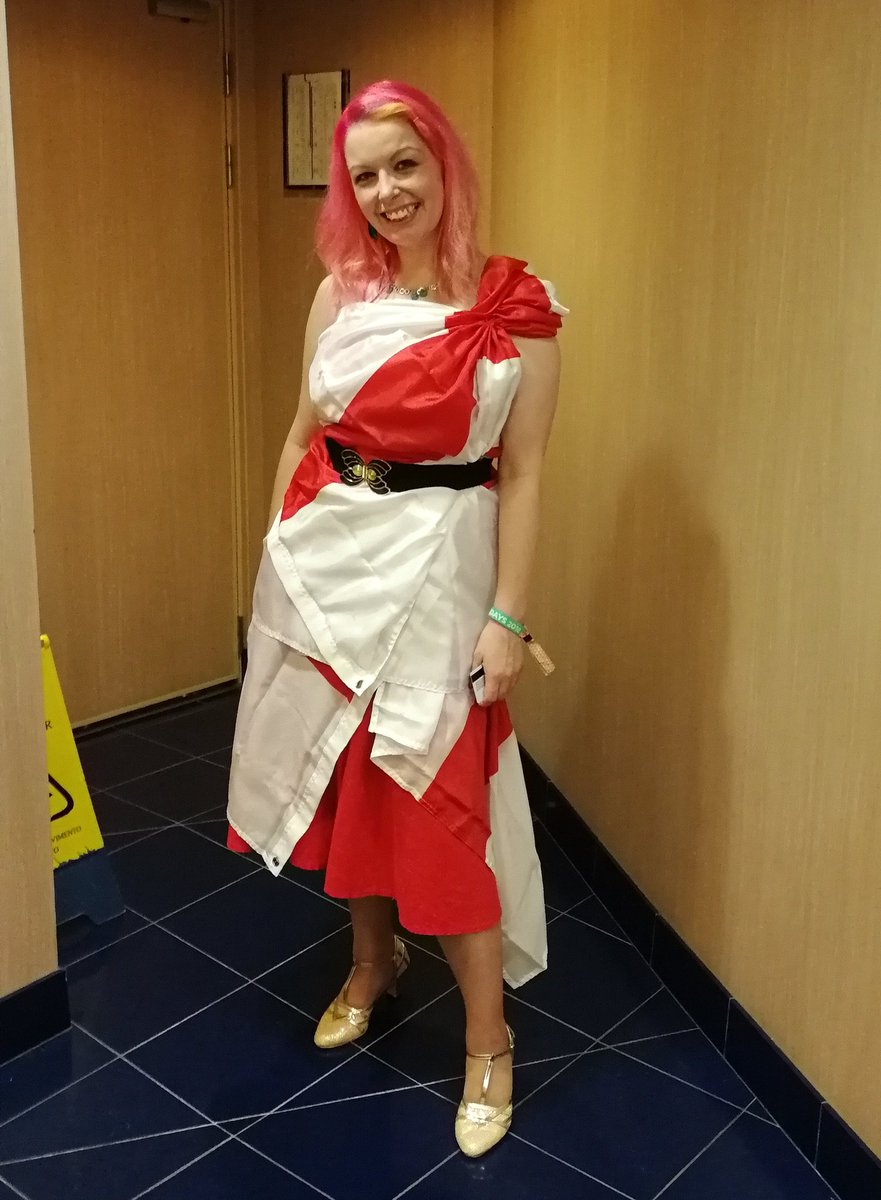 Made a dress out of England flags. Watched the match while cruising up the North Sea... Never mind eh