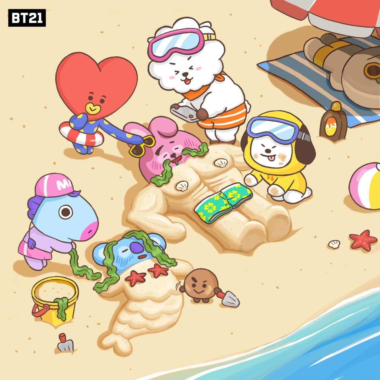 This is how we roll on the beach! ☀️�� #BT21 #Vacation #Cool #Summer https://t.co/MwN7vv7VMw