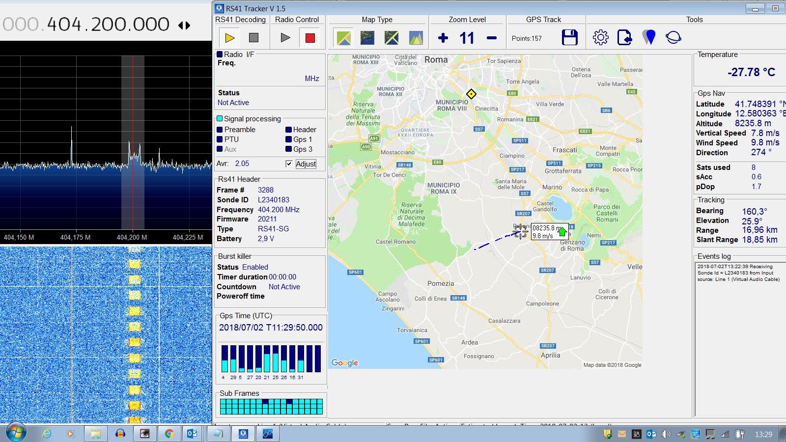 My first Radiosonde !! From Pratica di Mare received with Rtl Sdr with @sdrsharp & Rs41 Tracker @rtlsdrblog @rtlsdrblog @Chris_Diemoz @dxcoffee @uhf_satcom @EA4UC @ik1yde https://t.co/jWwok9aQgD