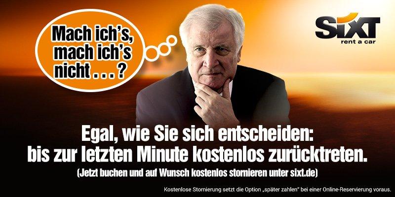 RT @SixtDE: Noch jemand so unentschlossen wie Horst #Seehofer?😉 https://t.co/slnufJCVB0