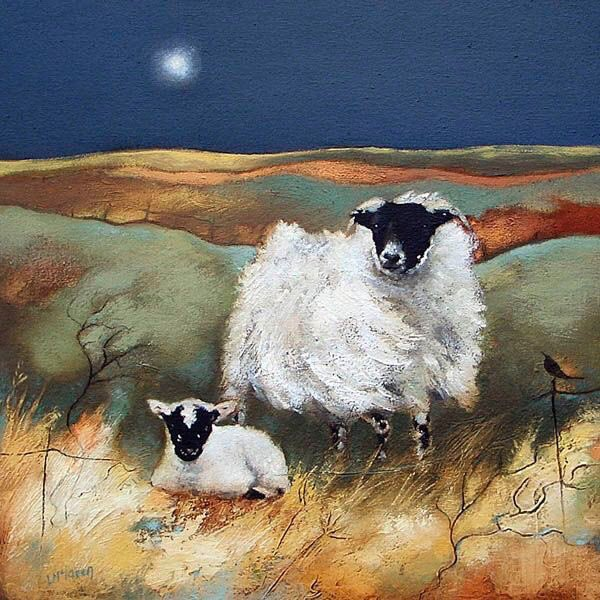 Night time tweets time....we all love sheep so to celebrate these super ovine animals here is  'Evening on the Moor by Lesley McLaren. https://t.co/95QwPELu3p