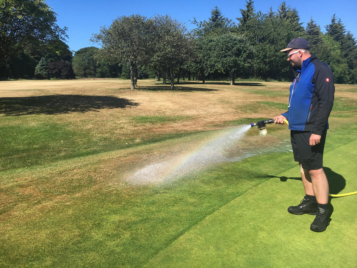 test Twitter Media - It's a constant battle to keep the problem area's with enough moisture lately but we're just about managing it. Got a team of water boys out hand watering drain lines, high spots, bunker heads etc. Go Team Water. https://t.co/bUL0nc8U9S