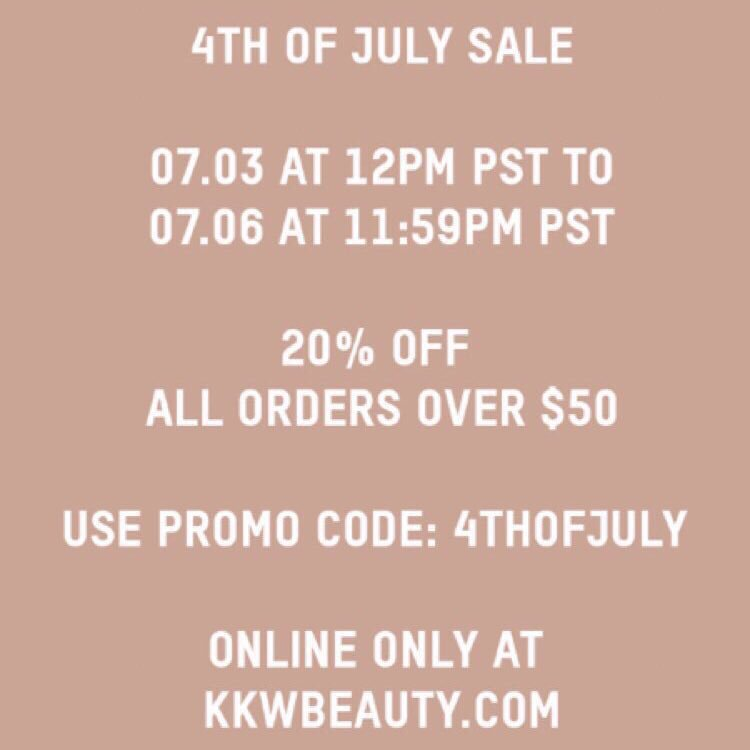 RT @kkwbeauty: Spend $50 or more and get 20% off online orders. Use promo code 4THOFJULY. https://t.co/32qaKbs5YG https://t.co/IuKlqQiCVy