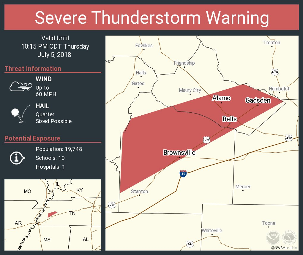 Bells Tennessee Map.Severe Thunderstorm Warning Including Brownsville Tn Alamo Tn