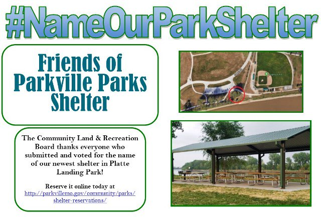 "test Twitter Media - Thank you to everyone who submitted names & voted in the #NameOurParkShelter campaign @parkvillemo for the new shelter in Platte Landing Park! Say hello to ""Friends of Parkville Parks Shelter"" after the Friends of Parkville Parks who donated money to construct the shelter. https://t.co/C8CDSjC8Zq"