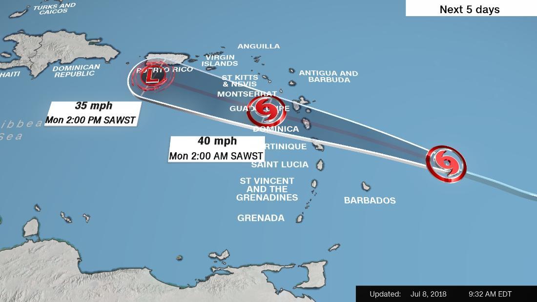 Tropical Storm Beryl weakened but is still pushing toward Puerto Rico