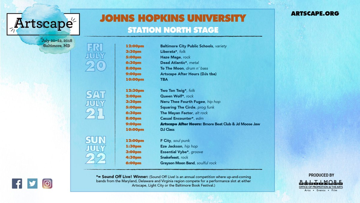 RT @ArtscapeBmore: Our @JohnsHopkins Station North Stage lineup. View the complete #Artscape2018 schedule here: https://t.co/UrBSKGnau7 htt…