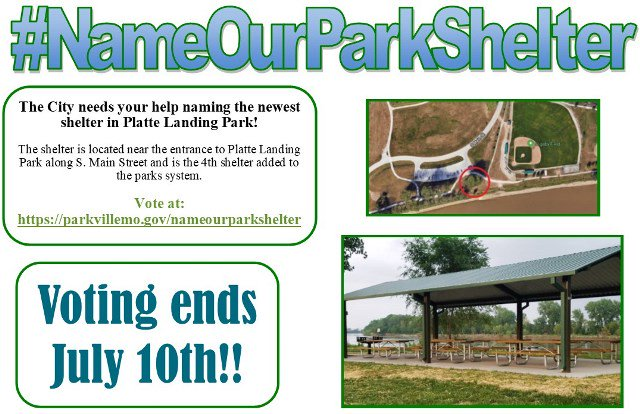 test Twitter Media - Voting ends today! Vote for a name for the newest picnic shelter in Platte Landing Park @parkvillemo at https://t.co/mldG4FbmLO. #NameOurParkShelter https://t.co/1BL5n22tku