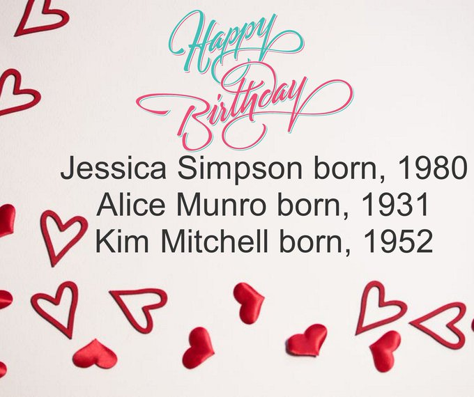 Happy Birthday! Jessica Simpson born, 1980 Alice Munro born, 1931 Kim Mitchell born, 1952