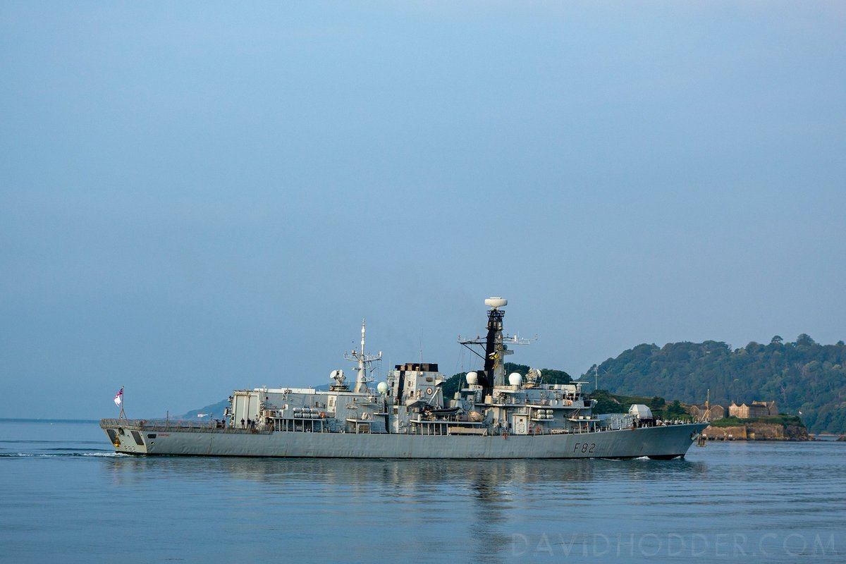 test Twitter Media - HMS Somerset, a Type 23 frigate, barley creates a ripple on the waters of #Plymouth Sound as she glides quietly past Drakes Island on her way back to #Devonport Naval Base. @britainsocean #Navy https://t.co/P09R49YXFG