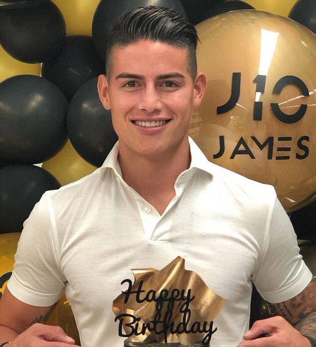 Happy B-Day: The Colombian , James Rodriguez celebrated his 27th birthday on Thursday with a golden birthday cake