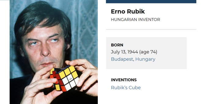 Happy 74th birthday to Hungarian inventor Erno Rubik, the man behind the cube.