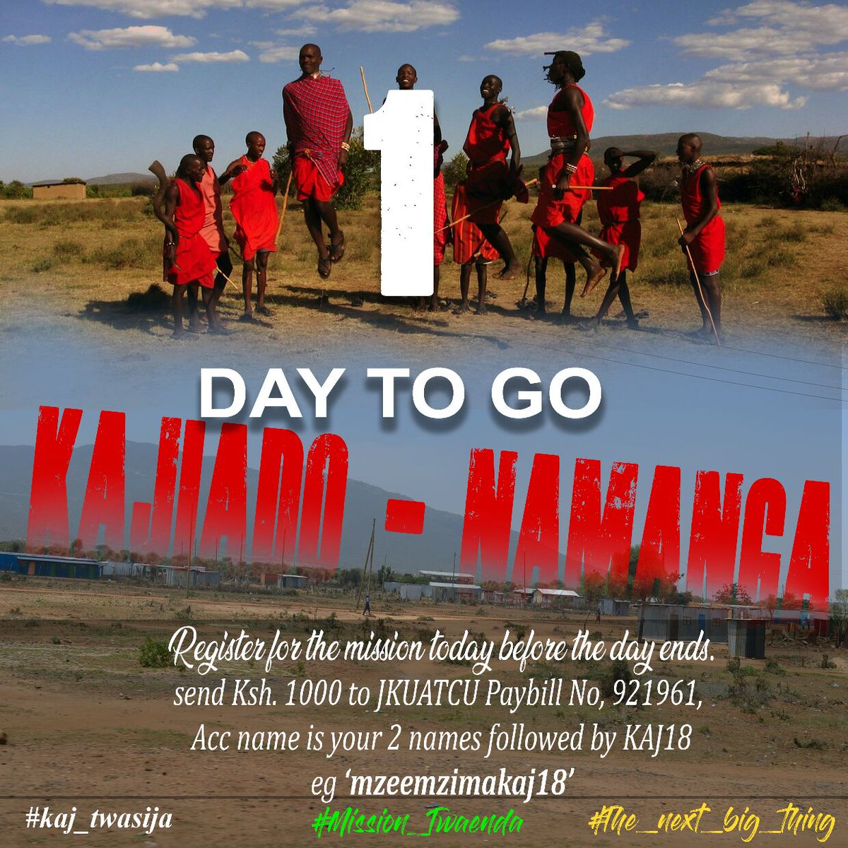 test Twitter Media - Kajiado Namanga Mission Registration. Please register using the CU playbill number that's 921961 and the account name as your two names and the word KAJ18. E.g. MzeeMzimaKAJ18.   You can also support the mission using the same paybill number as the Lord enables you  #KAJ_TWASIJA https://t.co/5gJiahj8hR