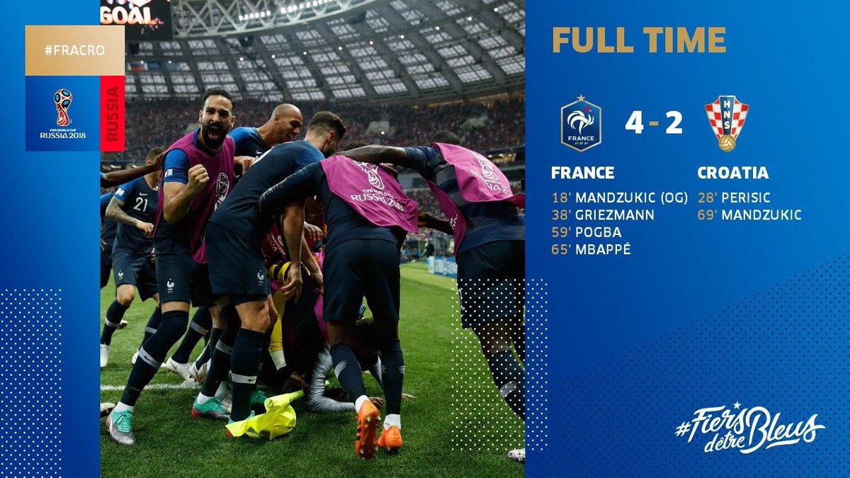 test ツイッターメディア - 試合終了!フランスが #W杯 チャンピオン に返り咲きました!レ・ブルー、そして期間中フランスを応援してくれた皆さん、ブラボー!また素晴らしい健闘をみせてくれたクロアチア、ブラボー!今夜はフランス中でお祝いムードになります。#フランス代表 #ワールドカップ 🇫🇷🏆⭐️⭐️‼️⚽️🎊🎈🍾🤩 https://t.co/tKI9gvMUC8