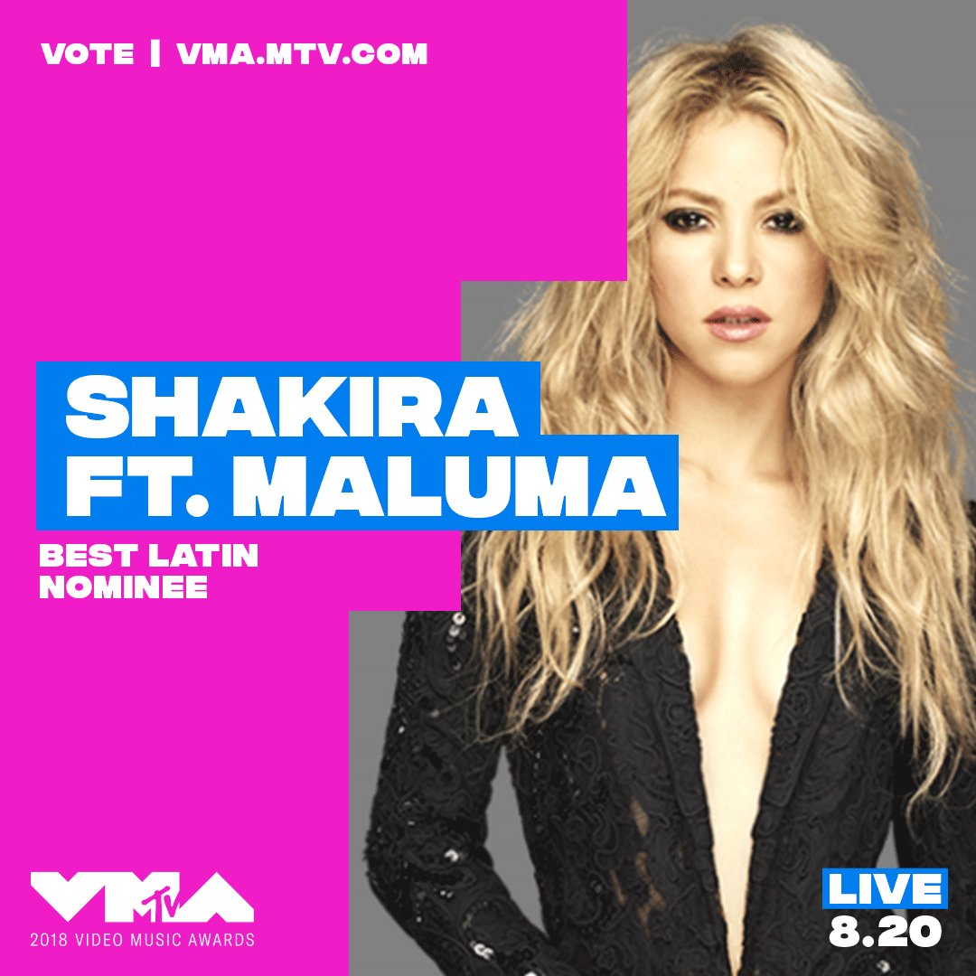 RT @MTV: @shakira congrats on your 2018 #vma nomination ???? vote now at https://t.co/CGTLSIBpj8 https://t.co/NC9h9lV9MT