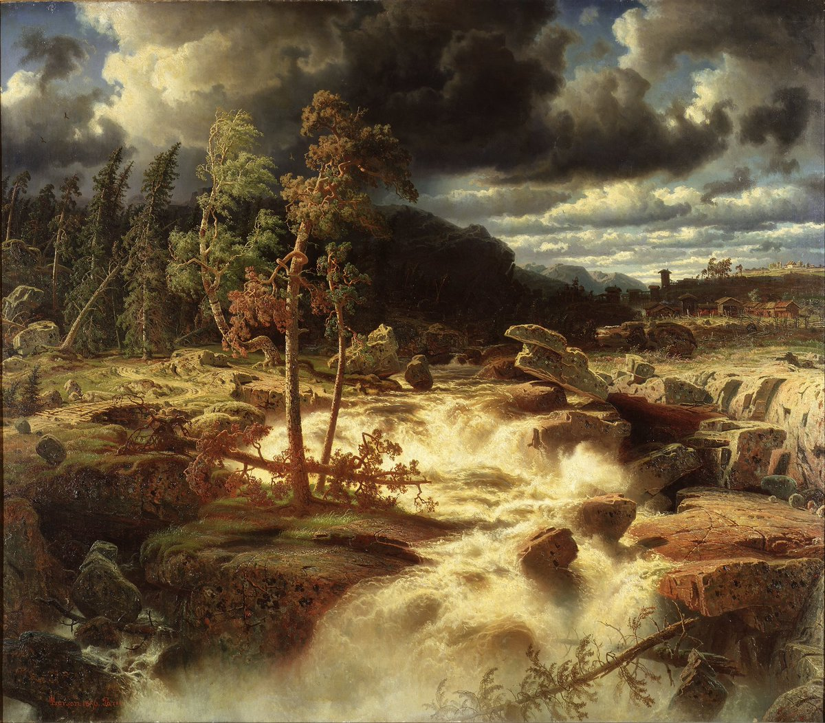 test Twitter Media - #TheNewPainting  Simeon Marcus Larson (5 January 1825, Åtvidaberg, Sweden – 25 January 1864, London, England/United Kingdom) was a Swedish landscape painter.  Småländskt vattenfall / Waterfall in Småland, 1856  Current location: Nationalmuseum SWE (@NatMus_SWE) Stockholm, Sweden https://t.co/ZyOvMwPf2H