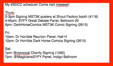 Come see me at #SDCC! All on-site events this year! https://t.co/sLBNvZDn0M