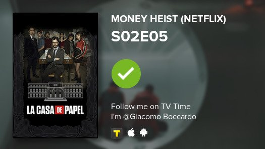 test Twitter Media - I've just watched episode S02E05 of Money Heist (Net...! #moneyheist  #tvtime https://t.co/YVFlpDnz3O https://t.co/cfslC5mmH8