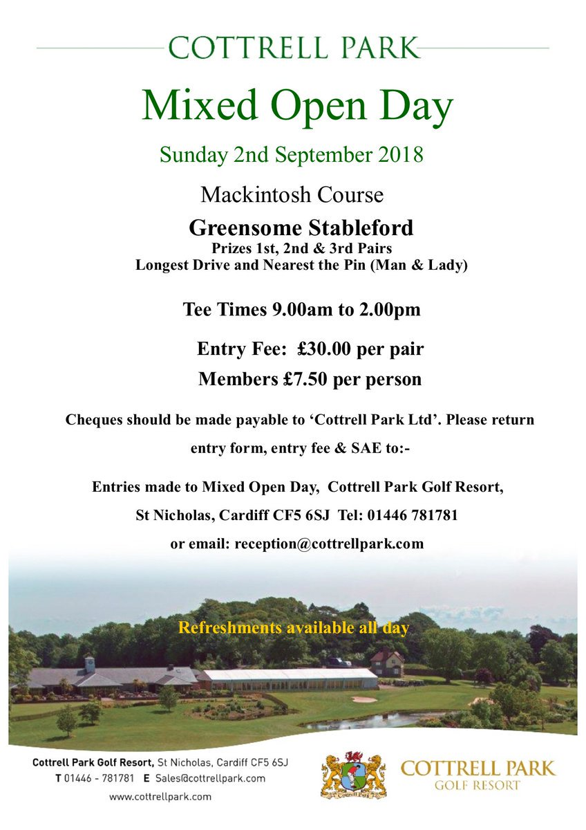 test Twitter Media - MIXED OPEN 🏌️‍♂️⛳️🏌️‍♀️  Sunday 02/09/2018  Our annual Mixed Open is less than 2 months away now...  Entry fee is just £15pp (£30 per couple) and there are plenty of prizes to be won on the day.  To book in or for more details, call us on 01446 781781 https://t.co/jIg1YX7NWl
