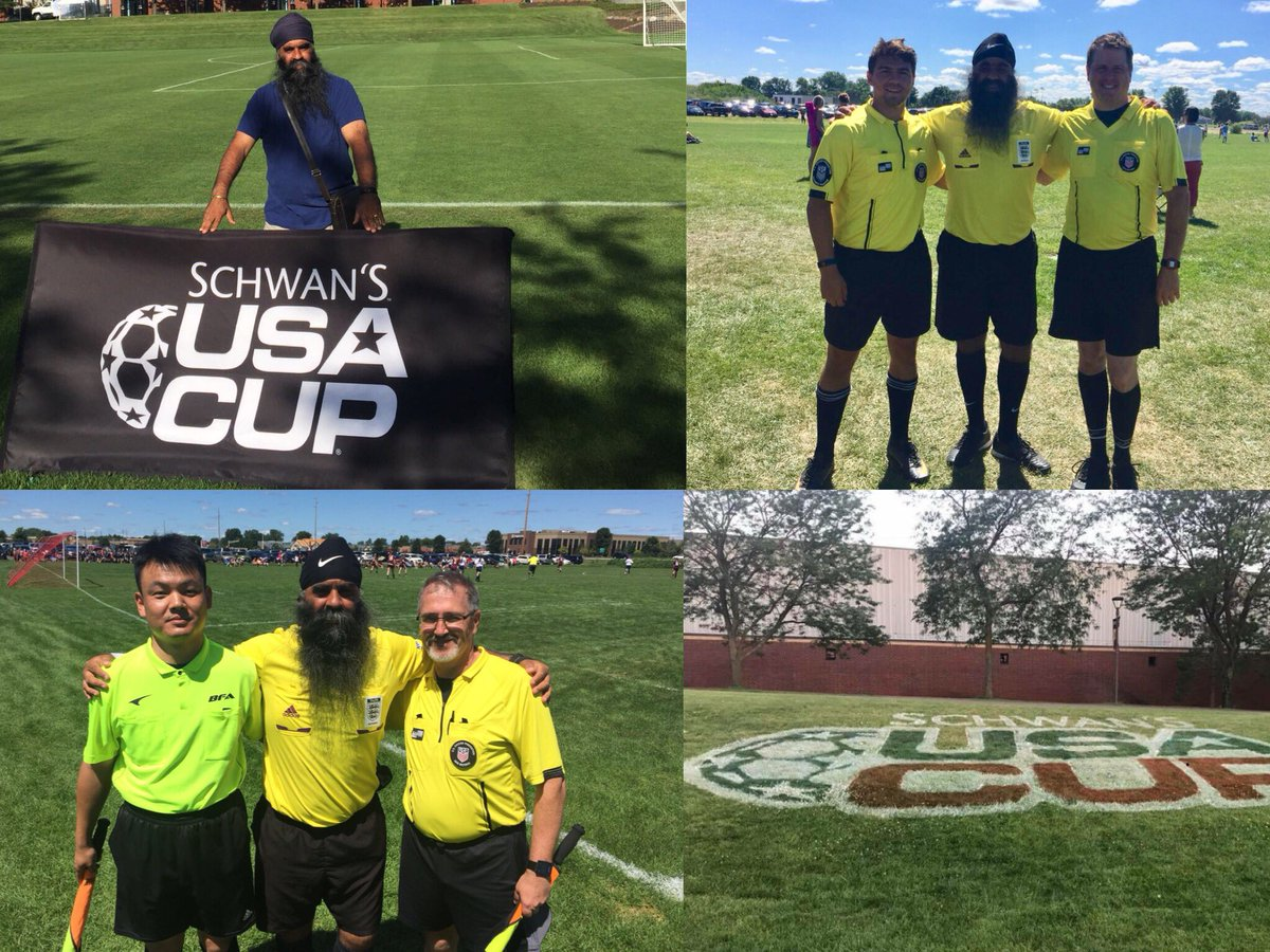 test Twitter Media - Singh becomes the first UK Sikh FA referee to officiate at the prestigious USA Cup 2018 in Minneapolis.  Kooner Singh is an @FA level 5 referee & club secretary of GAD Khalsa Sports Derby, is representing the UK. #SikhsInFootball #SikhIdentity @usacupsoccer @kickitout @FIFAcom https://t.co/H9XbRHMnUM