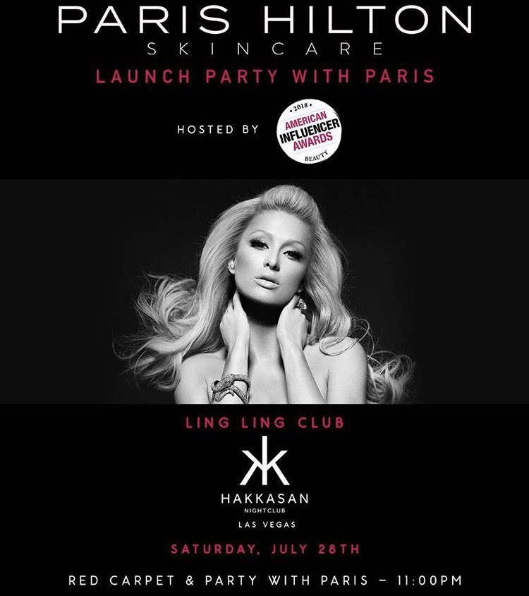 Hey #LasVegas ! So excited for the launch of my new #ParisHiltonSkincare Line at @HakkasanLV on July 28th! https://t.co/Wf32zIPQLz