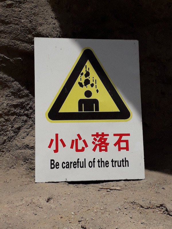 """test Twitter Media - The truth of falling rocks: From Geoff Wade: The Chinese writing on the sign says: xiǎoxīn luòshí 小心落石 """"Beware of falling rocks / stones"""" You may well wonder how in the world this bizarre mistranslation came about. I think that it resulted from a… https://t.co/1wmuvqoVuh https://t.co/rPk47Yk2iR"""