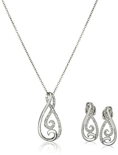Sterling Silver and Diamond Infinity Pendant Necklace and Earrings Jewelry Set (1/10 cttw)  https://t.co/yLSFTt7Fsd https://t.co/cMxL9AiKmX