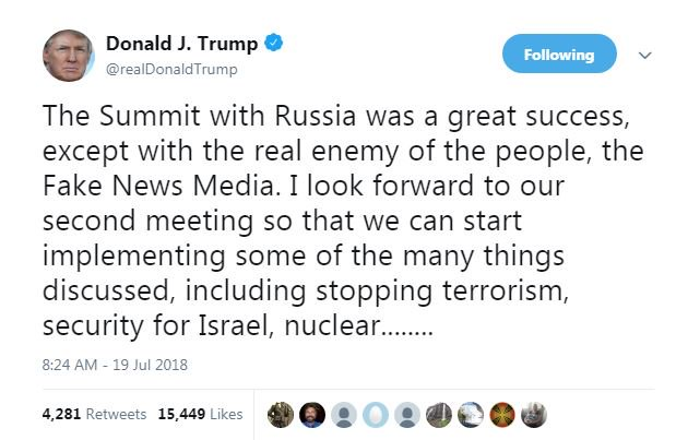 "test Twitter Media - President @realDonaldTrump says summit with Russia was a great success, except with ""the real enemy of the people"" the ""Fake News Media"" Says he looks forward to a second meeting to start implementing things discussed during first meeting. https://t.co/chf48p83jZ"