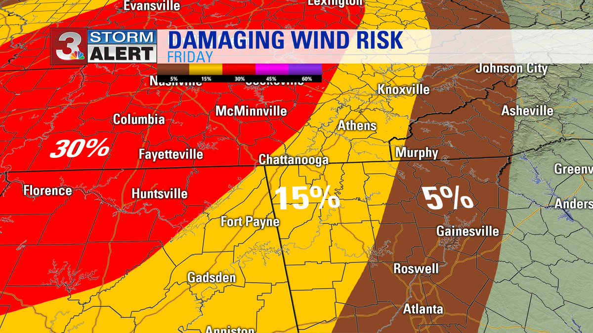 Risk of DAMAGING WINDS with storms.  Maybe a few storms this afternoon, but primarily overnight tonight. #CHAwx https://t.co/2xpG62CyLs