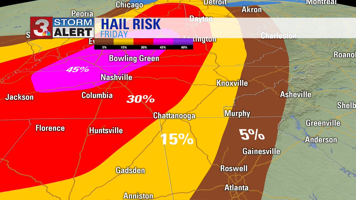 Risk of HAIL with storms.  We may see one or two storms this afternoon, but most will be overnight tonight. #CHAwx https://t.co/4Wiwt2Mfo3
