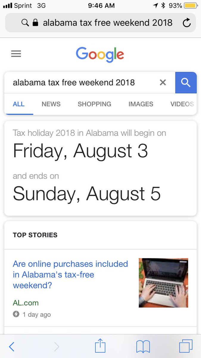Dear @Google, i don't know if i can forgive you for leading me astray on when tax free weekend is in Alabama. https://t.co/tWRAIoemqU