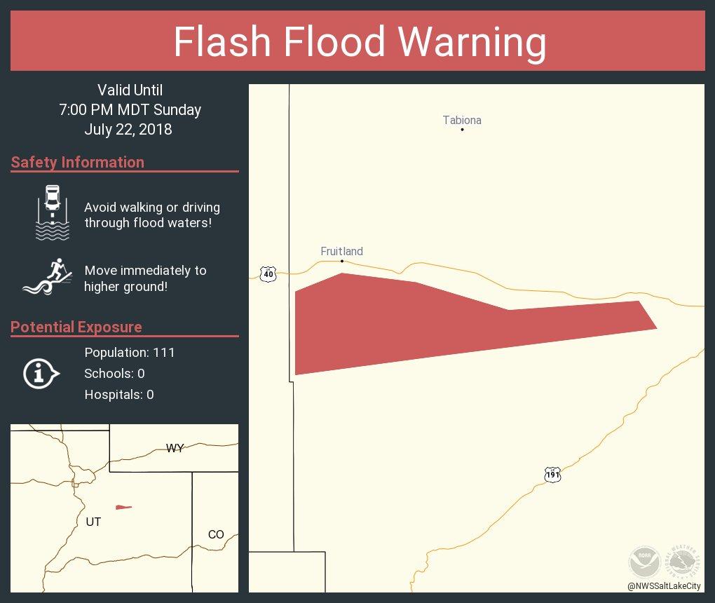 RT @NWSSaltLakeCity: Flash Flood Warning including Duchesne County, UT until 7:00 PM MDT https://t.co/Bj8wJbNw6N