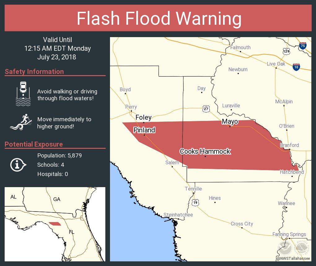RT @NWSTallahassee: Flash Flood Warning including Mayo FL, Foley FL, Athena FL until 12:15 AM EDT https://t.co/vxhaSQgoQM