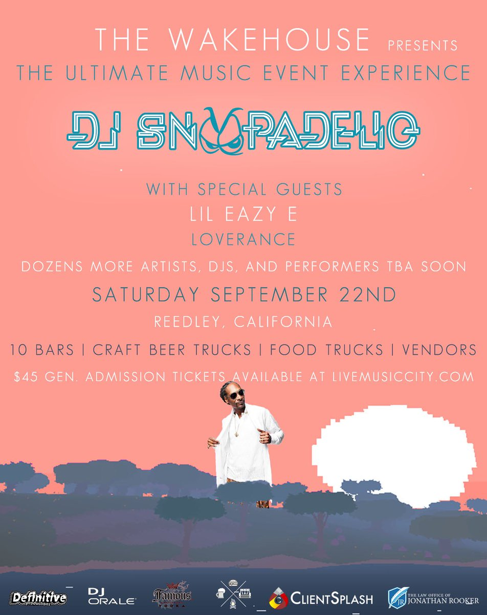 DJ SNOOPADELIC on the decks . Sept 22 @wakehouserules in CA ! get ur tix at https://t.co/e48wHSc60d ???????? https://t.co/vXjAbqC1a5