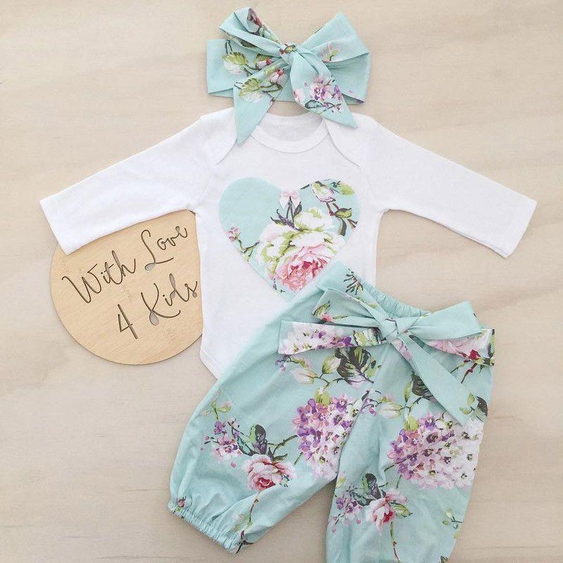 3pcs Newborn Kid Baby Girl Floral Clothes Jumpsuit Romper Bodysuit...